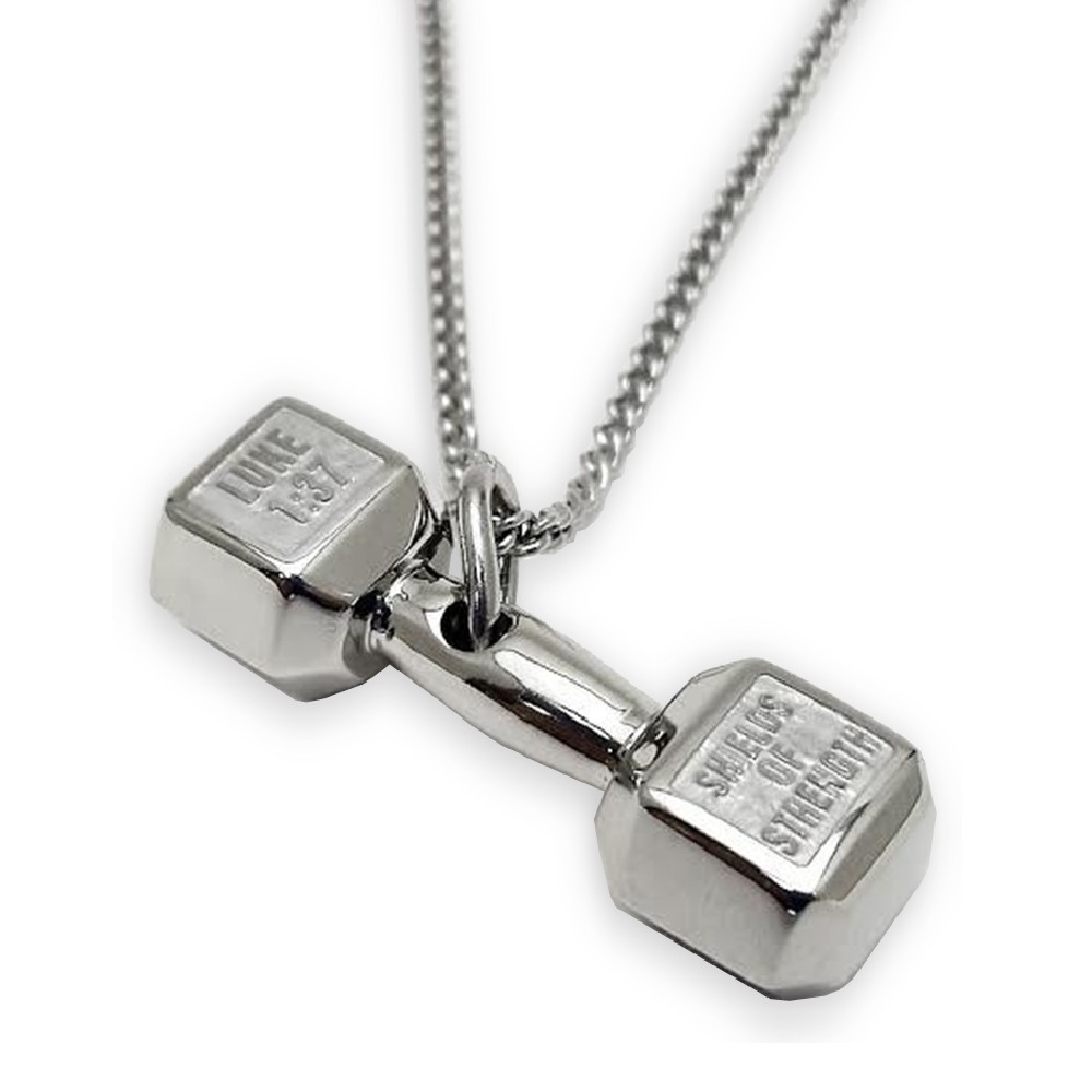 weightlifting charms silver product necklace plate fitness pendant